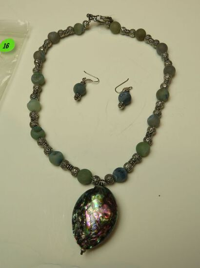 """19"""" necklace silver tone & frosted blue beads w/ abalone - matching sterling shepherd's hook earring"""
