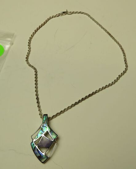 """Abalone slider in sterling setting on 16"""" sterling chain"""