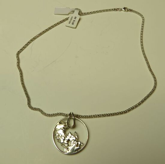 """Sterling slider w/abstract sterling & 18"""" sterling chain"""