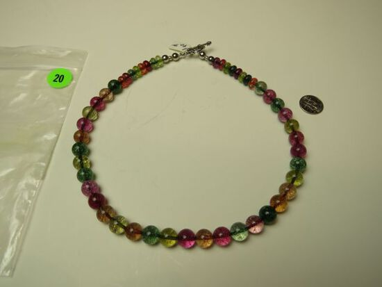 """18"""" necklace w/multicolored glass beads & toggle clasp"""