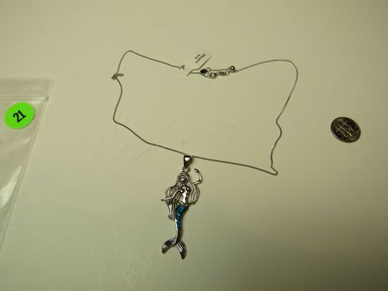 """Sterling pendant - mermaid w/inlaid opal on 18"""" chain"""