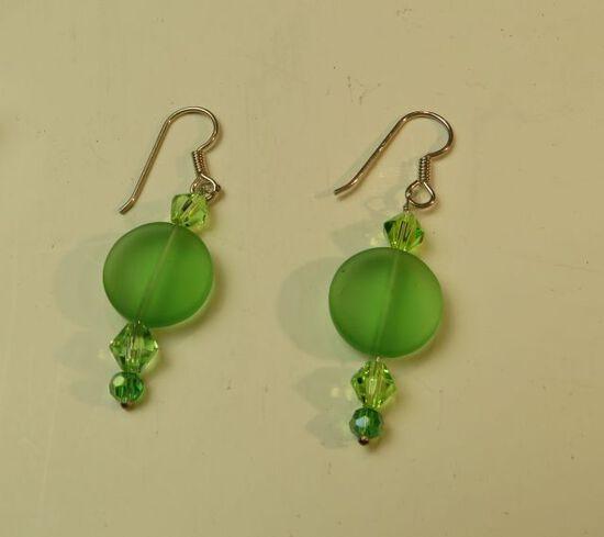 Green glass & crystal earrings w/sterling shepherd's hook