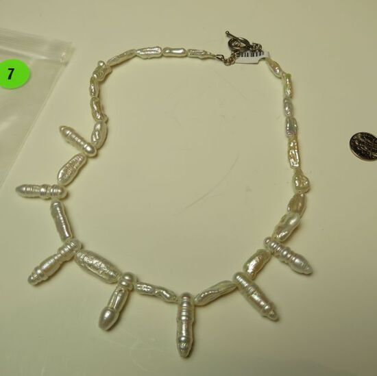 """Fresh water pearl 17"""" necklace w/sterling toggle"""
