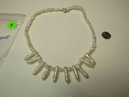 """Fresh water pearl 17"""" neckalce w/14K -yg- catch"""