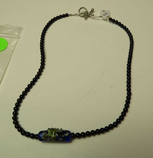 """17"""" Frog on a log necklace w/onyx bead & sterling toggle clasp"""