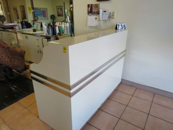 """reception desk counter and matching front divider wall <br>desk dimensions - 60"""" wide x 24"""" deep x 4"""