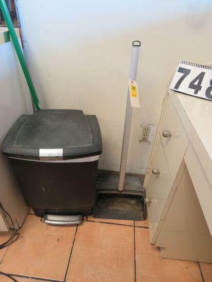 trash can, broom, and long handle dust pan