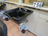black hair wash sinks with mixing valve and spray nozzle