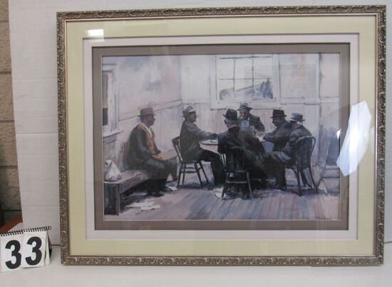 "Framed Print  Men Playing Cards  28"" x 36 1/2"""