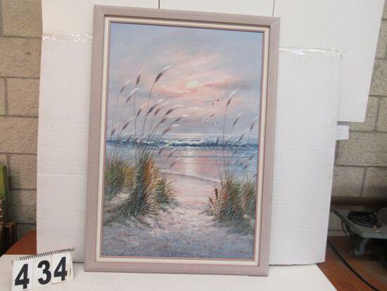 """Framed Gecle'e Canvas  Beach Scene  40 1/2"""" x 29"""""""
