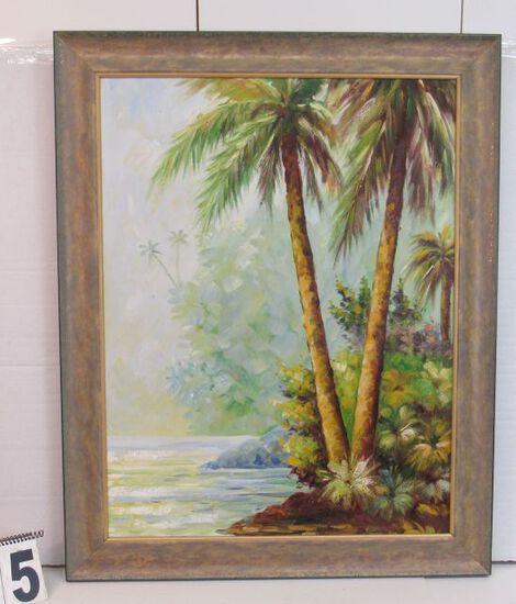 """Framed Oil Palm Scene  36"""" x 29 1/4"""""""
