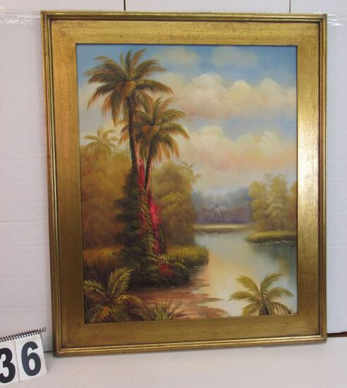 "Framed Gecle'e Print on Canvas  Palm by River  36 1/4"" x 30 1/4"""