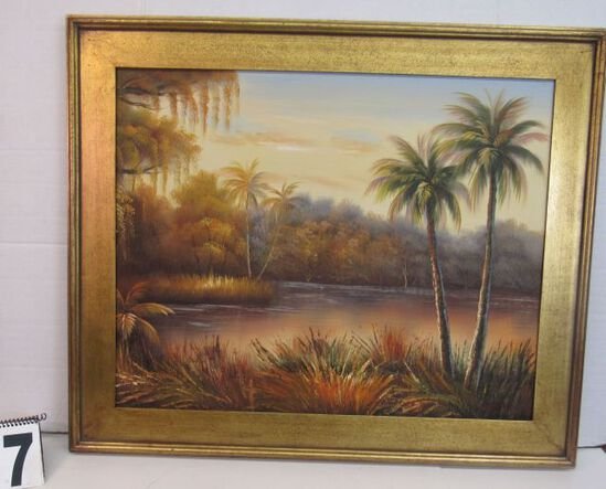 "Framed Gecle'e Print on Canvas  Palm by River  30 1/4"" x 36 1/4"""