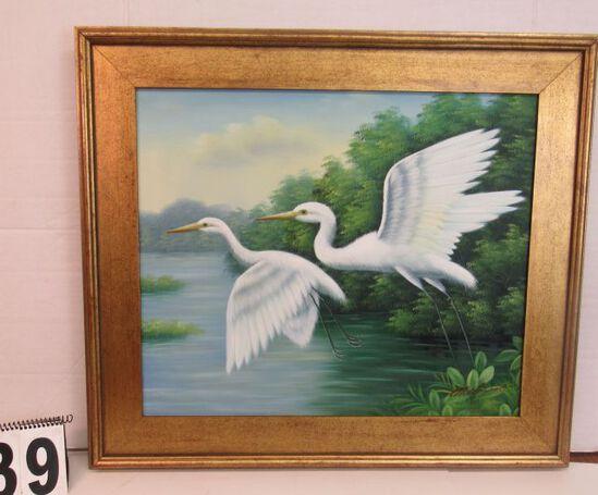 """Framed Oil on Canvas  2 White Egerts  26 1/4"""" x 30 1/4"""""""
