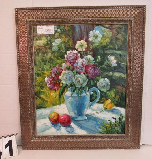 "Framed Oil on Canvas  Wild Rose Bouquet  30 1/4"" x 26 1/4"""