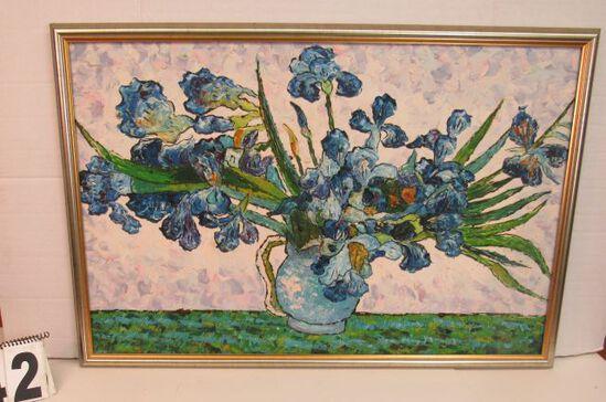 "Framed Oil on Canvas  Blue Flowers  24 3/4"" x 37"""