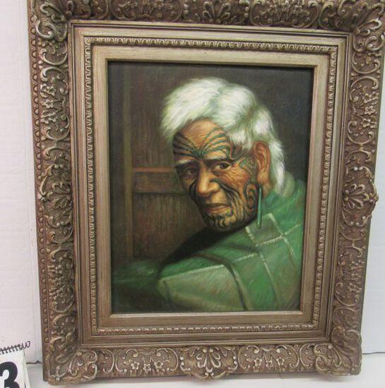 "Framed Gecle'e Print on Canvas  Mauri Chief  30 1/2"" x 26 1/2"""