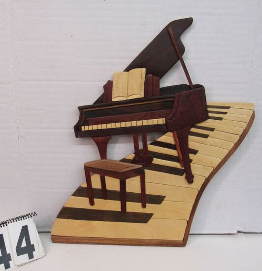 "Wood art Piano  made from highly finished hardwood pieces23 1/2"" x 22"""