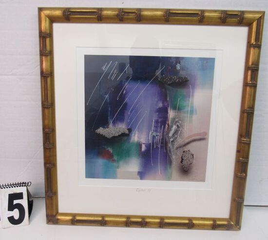 "Framed Print  Purple & Green Abstract  21"" x 20"""