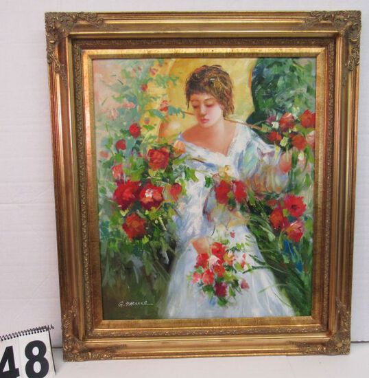 "Framed Oil  Lady and Roses by G Pruie  31"" x 27"""