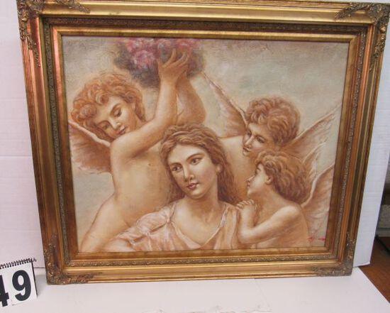 "Framed Print on Canvas  Cherubs  31"" x 37"""