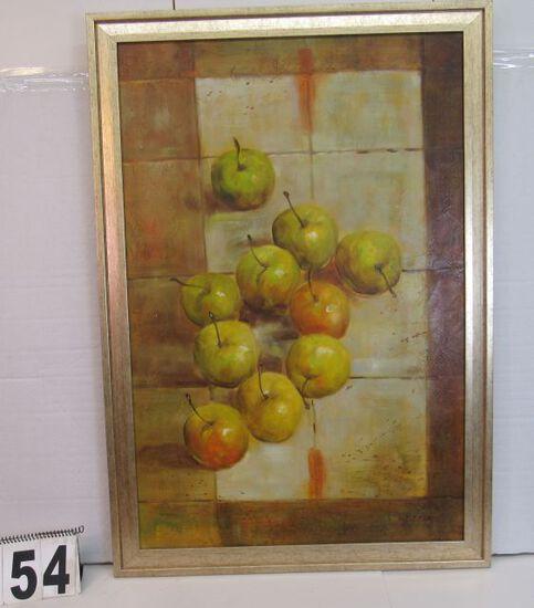 "Framed Print on Canvas  Apples on Table  39 1/4"" x 27 1/2"""
