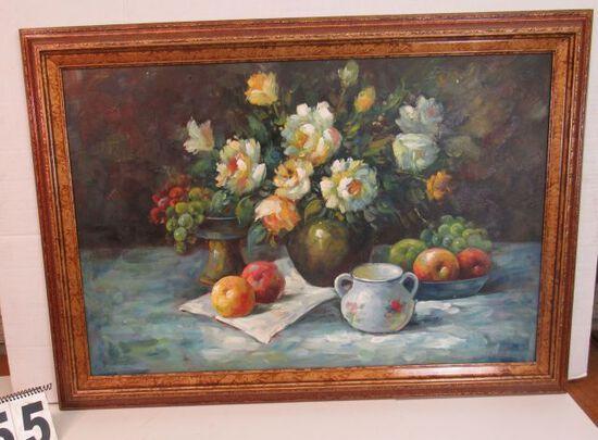 """Framed Oil  Flower Still Life by Tyler  29 1/2"""" x 41 1/2"""""""