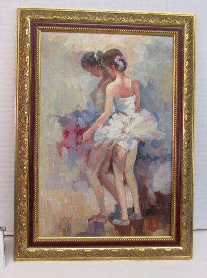 """Framed Oil on Canvas  Ballerinas  29"""" x 21"""""""