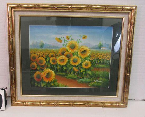"""Framed Oil Under Glass  Sunflower Field I  20"""" x 24"""""""