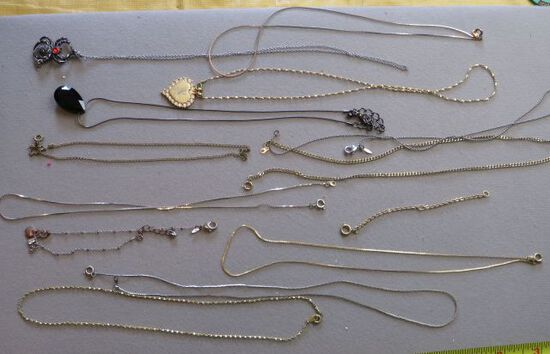 group 12 mixed chain necklaces