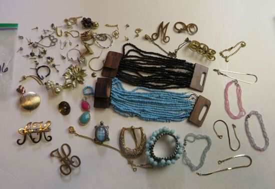 mixed jeweltyitems, necklaces, earrings, bracelets, pins