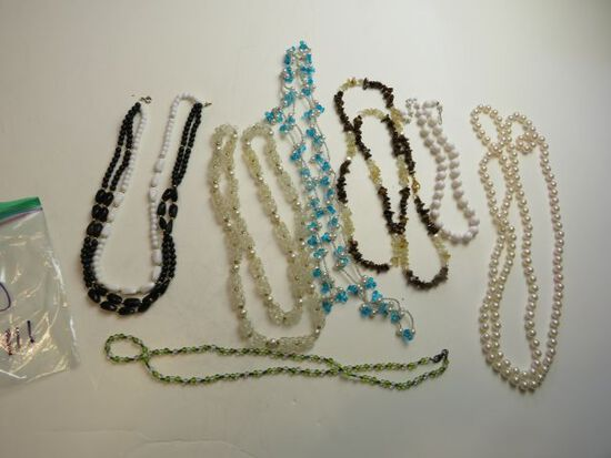 group of 7mixed faux pearl and beaded necklaces