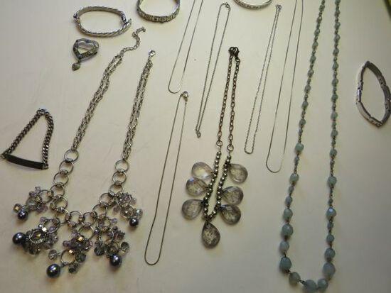 8  necklaces, 1 jeweled heart pin, 5 bracelets