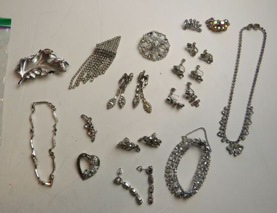 mixed rhinestone jewelry - 4 brooches, 1 Napier silver tone brooch, amethist and silver tone bracele