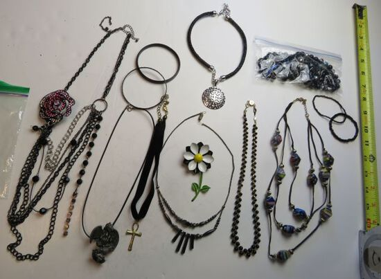mixed necklaces, bracelets, pins