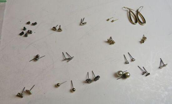 group of 14 pair post earrings (no backings) 1 shepherd hook set