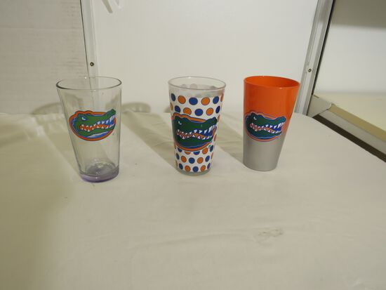 beer glasses with mixed Gator logos (3) different styles