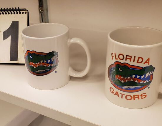 Gator head logo white coffee mugs (3) different styles