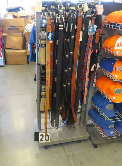 "belt display rack on casters 24"" w x 18"" deep x 60"" high merchandise not included"