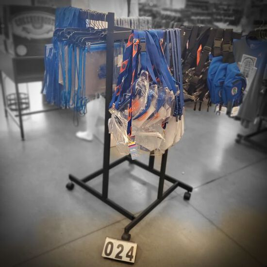 "4 way clothing racks on casters with 18""adjustable height arms  merchandise not included"