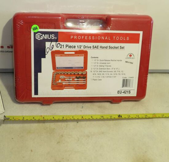 """Genius Professional tools 21 pieces 1/2"""" drive hand socket set in new sealed box"""