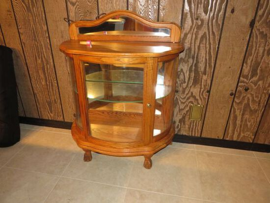 Bow Front Oak Glass Display (cracked lower side glass) 32 W x 15 D x 40H
