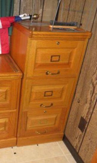3 Drawer Oak File Cabinet Letter Size