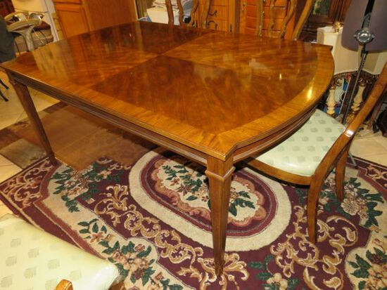 """Drexel Tryon Manor dining table with 2 leaves, 8 chairs, and table protection covers 42"""" x 66"""" overa"""