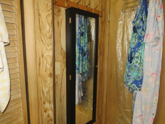 """hanging mirrored jewelry cabinet 48"""" x 14"""" wide 3.5"""" deep"""