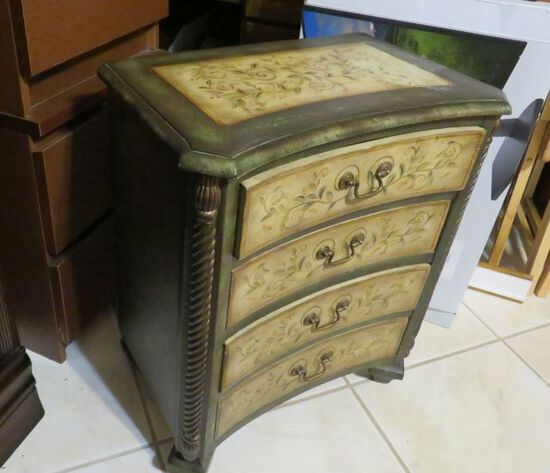 """small 4 drawer  lamp chest 25"""" x 21"""" x 13"""" deep  Bombay style"""