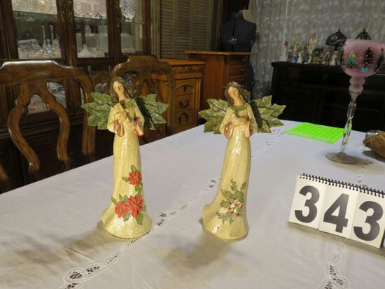 pair Christmas angels with green wings