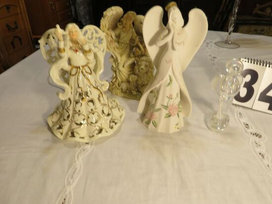 group of 4 ceramic and glass angel figures (angel on right is lighted.