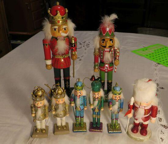 group of 8 Nutcracker wood figures