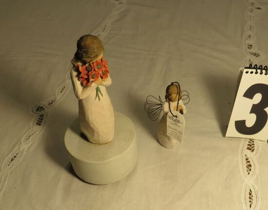 Willow Tree musical figure and angel figure